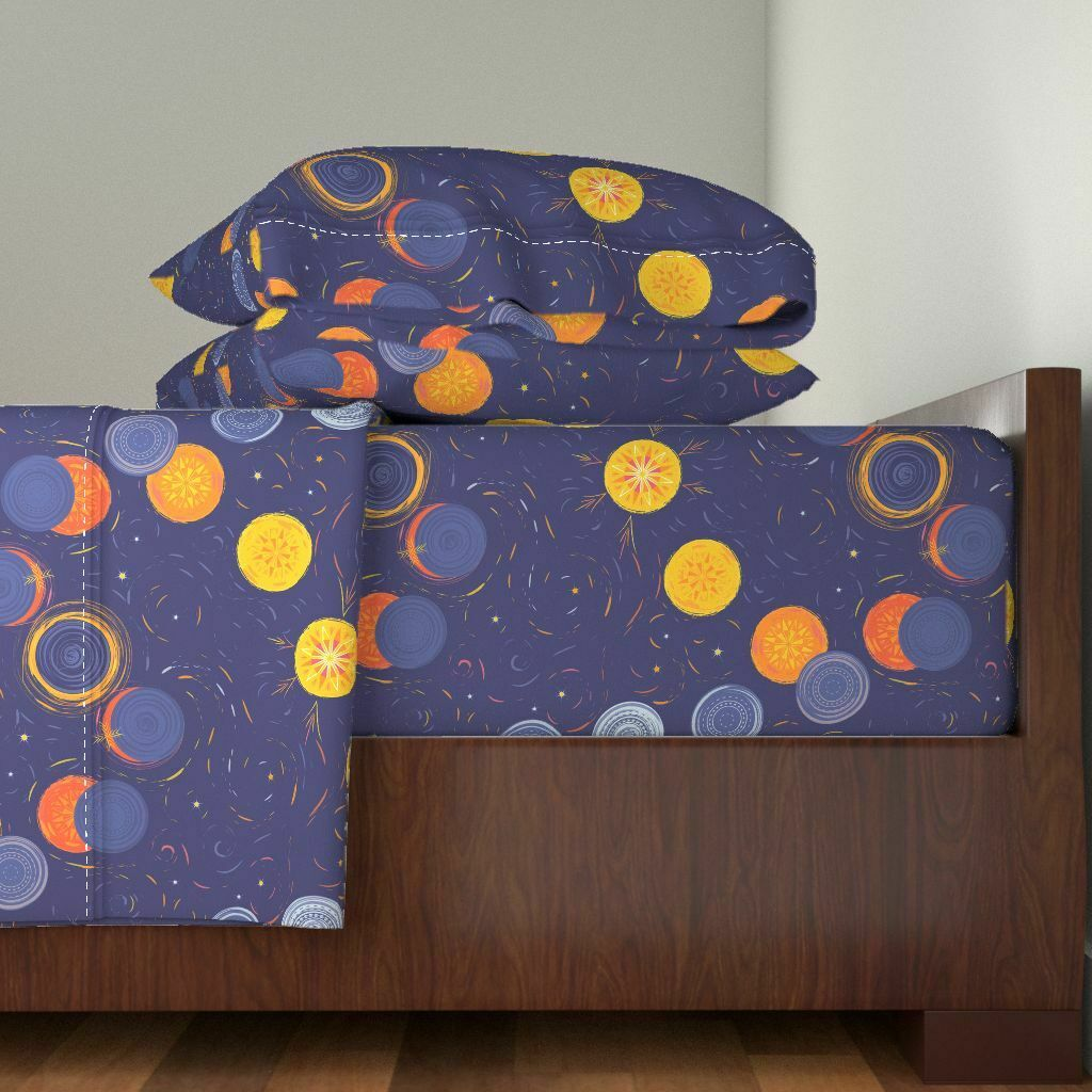 Solar Eclipse Eclipse Solar Eclipse 100% Cotton Sateen Sheet Set by Roostery
