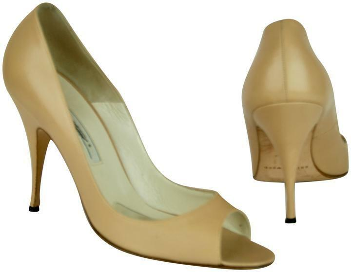 BRIAN ATWOOD NUDE BEIGE LEATHER PEEP TOE HEELS SHOES, SIZE 39.5, 4  HEELS