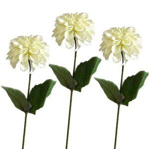 Set of 3 artificial zinnia flower stems cream summer daisy image is loading set of 3 artificial zinnia flower stems cream mightylinksfo