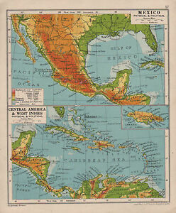 1928 Map Mexico Physical Political Central America West Indies