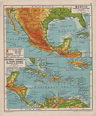 Map Antique De Bry 1594 West Indies Americas Large Replica Canvas Art Print