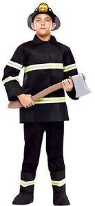 Boys-Fireman-Costume-Fire-Fighter-Man-Black-Suit-Halloween-S-M-L-Child-Kids-NEW