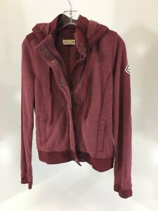hollister-womens-full-zip-Long-Sleeve-hoodie-Heather-Burgundy-Medium-NWT