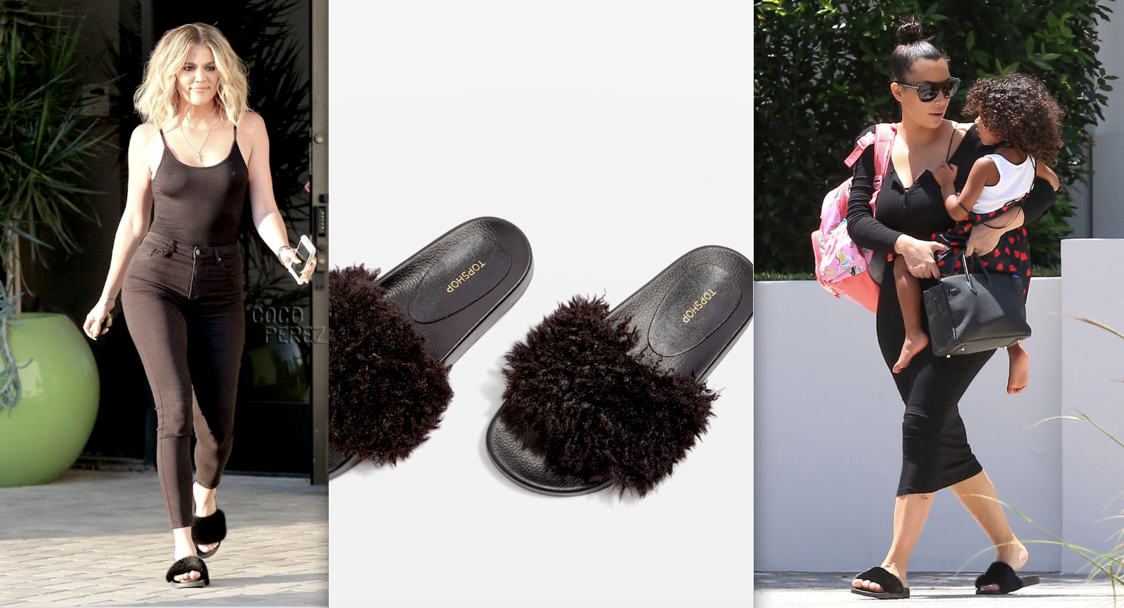 last pair TOPSHOP BLACK FLUFFY FAUX FUR FLAT PUMPS Schuhe SLIDES  UK4  EUR37