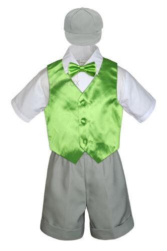 Gray Boy Toddler Formal Vest Shorts Suit Satin Vest Bow Tie Hat 5PC Set sz S-4T