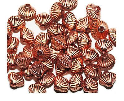 6mm Corrugated Bicone Mushroom Bright Copper Metalized Metallic Beads