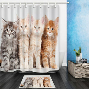 Image Is Loading Four Cute Cats Shower Curtain Bathroom Polyester Fabric