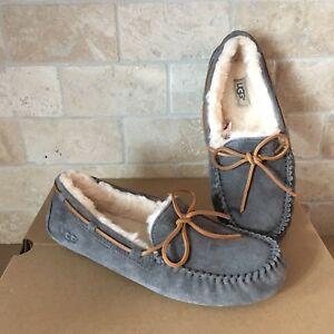 d487f13df2b Details about UGG Dakota Pewter Slippers Moccasins Suede Sheepskin Size US  10 Womens