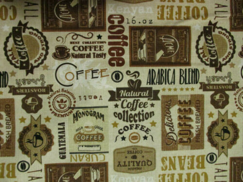 VINTAGE COFFEE LABELS CUPS BEANS JAVA CAFE TAN BROWN COTTON FABRIC FQ