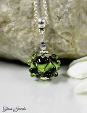 Glass Jewels Silber Anhänger + Kette Lampwork Perle Indiander Boho Grün #MA016