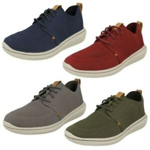 mens clarks casual textile lace up fastening shoes  'step