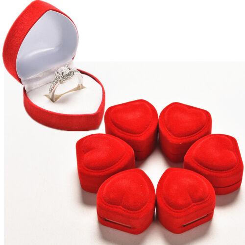 1//10pcs Heart Shape Ring Red Love Heart Storage Box Jewelry Box Display Box XDUK
