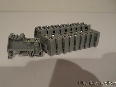 10 Lot of CA702 Gray Polyamide New Connectwell Din Rail Ends 44mm X 9mm