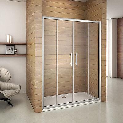 Luxury Sliding Shower Enclosure Door and Tray 6mm Glass Double Door Screen Panel
