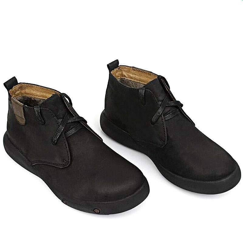 Men's Casual Ankle Boots Leather Warm Tooling shoes Fur Lined Formal Dress shoes