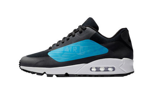 NIKE MEN'S AIR MAX 90 NS GPX BLACK/LASER BLUE RUNNING SHOES SIZE 9.5