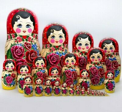 10 pcs Russian Nesting Doll Matryoshka #3608 RED