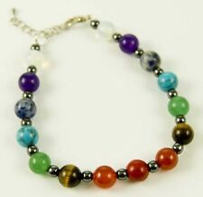 **BEAUTIFUL CHAKRA CRYSTAL & HEMATITE LARGE 8mm BEAD BRACELET - HEALING / REIKI*