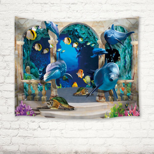 3D Ocean Dolphin and Sea Turtle Wall Hanging tapestry Bohemian Bedspread Dorm