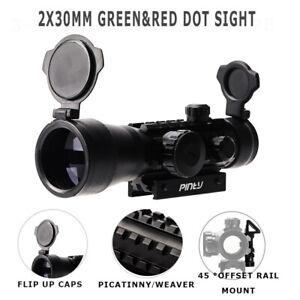 2X30m-Green-amp-Red-Dot-Sight-w-Flip-Up-Lens-Caps-with-45-Angle-Picatinny-Rail-Mount