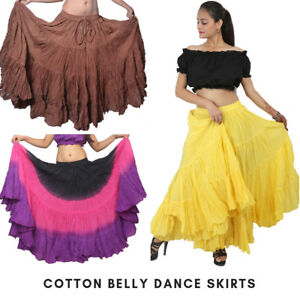 2e4ac0b4ff Mix Color Cotton 12 - 25 Yard Tiered Gypsy Skirt Belly Dance Ruffle ...