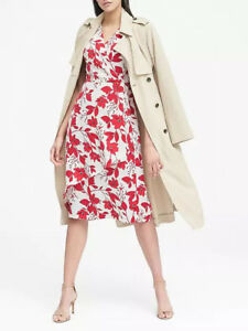 NWT-Banana-Republic-New-128-00-Women-Floral-Wrap-Effect-Midi-Dress-Size-2-4