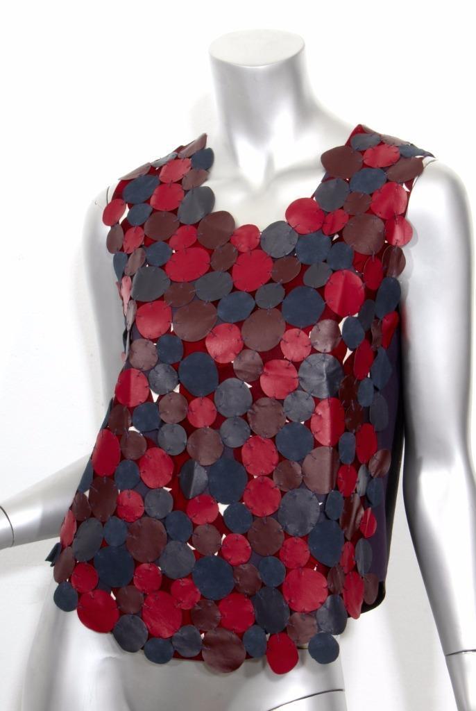 DIANE VON FURSTENBERG Multi-Farbe Leather & Suede Patchwork Top Blouse 4 NWOT