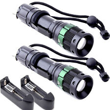 2X Ultrafire Tractical 8000 Lumen Zoom CREE XM-L T6 LED Flashlight 18650 Charger
