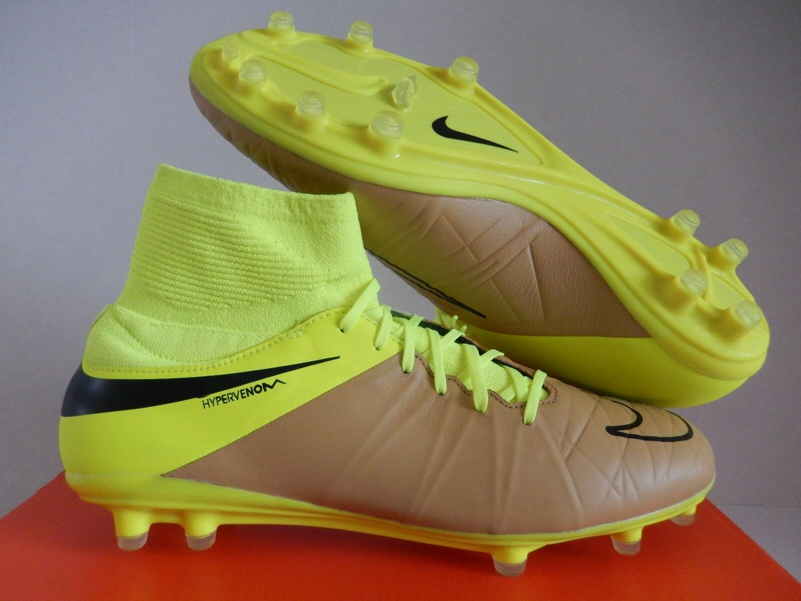 NIKE HYPERVENOM PHATAL II DF LTR LEATHER FG CANVAS-BLK-VOLT SZ 7.5 [747504-707]