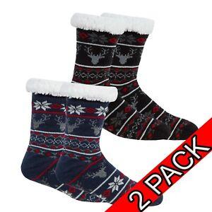 Mens-amp-LADIES-Luxury-Slipper-Socks-gripper-thermal-lounge-cosy-2-pack-lined