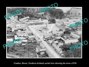 OLD-LARGE-HISTORIC-PHOTO-COMBER-NORTHERN-IRELAND-AERIAL-VIEW-OF-TOWN-c1930-1