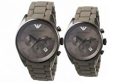 Brand New Emporio Armani AR5950 AR5951 Couple Chronograph Watches with Boxes