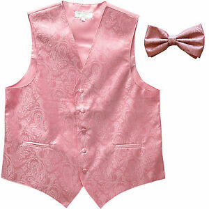 New formal men's tuxedo waistcoast vest_bowtie Pink Paisley wedding party