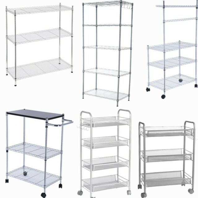 Kitchen Rolling Storage Cart Multi-Layer Shelf Storage Shelves Trolley  Organizer
