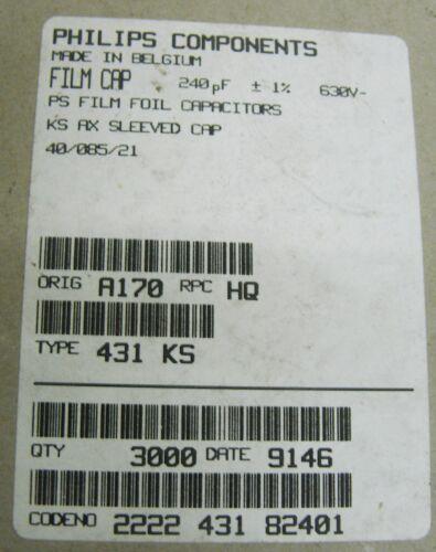 10 Philips 240pf 0.24nf 1/% 630v Polystyrene Kondensator 2222-431-82401 Axiale