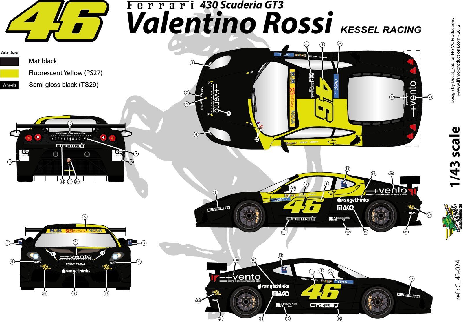 SHARK BARCODE TBD342 1//43 Valentino Rossi Test FERRARI F2008 DECALS F1 INC