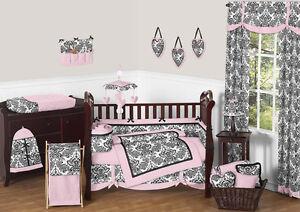 Jojo Designs Damask Designer Unique Pink Black Baby Girl