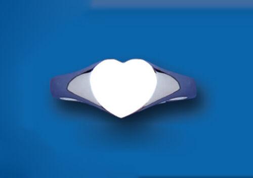 Corazón Signet Anillo de Señoras Plata esterlina sólida