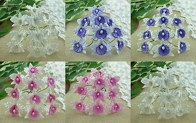 PACK 5  BEAUTIFUL 30MM ORCHIDS FOR CARDS AND CRAFTS 6 COLOURS TO CHOOSE