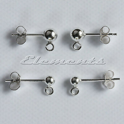 Sterling 925 Silver Earring Ear Posts with Bead /& Open Loop French Fittings
