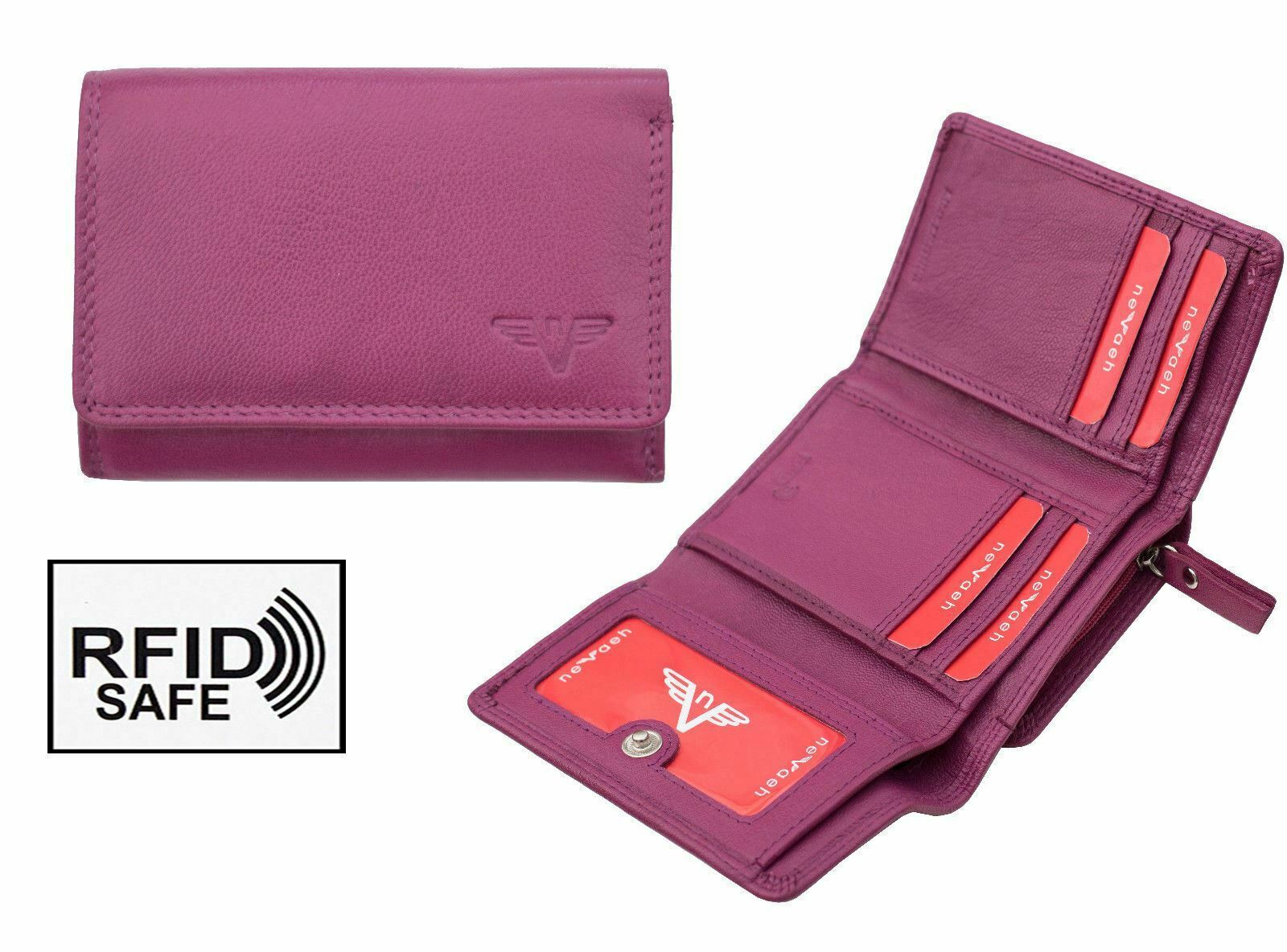 Nevaeh Heavenly Accessories Ladies Small Fuchsia Leather Trifold Purse RFID SAFE