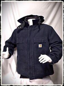 Carhartt Mens Jacket Size 2XL Reg. Navy Blue .Great winter Jacket With New Hood.