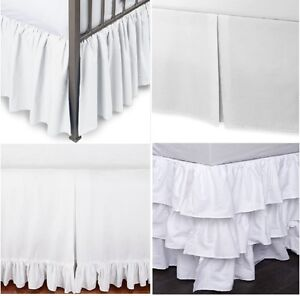 750-TC-SPLIT-CORNER-BED-SKIRT-SOLID-WHITE-COTTON-CHOOSE-TYPE-SIZE-DROP-NEW