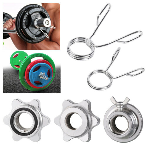 Gym Dumbbell Spinlock Collars Barbell Bar Clips Check Nut Spin Lock Screw