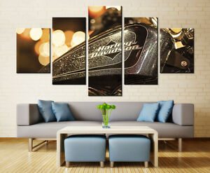 Captivating Image Is Loading Large Framed Harley Davidson Gas Tank Canvas Print