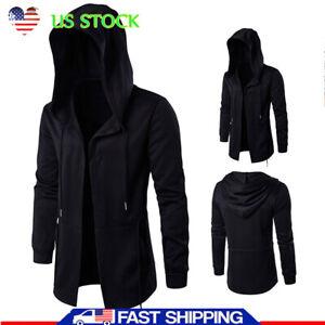 Men-039-s-Solid-Casual-Cloak-Cape-Cardigan-Long-Sleeve-Autumn-Hoodie-Coat-Jackets-US