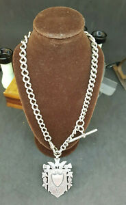 ANTIQUE-1900-039-S-SOLID-SILVER-POCKET-WATCH-CHAIN-amp-3-FOB-74-3-G