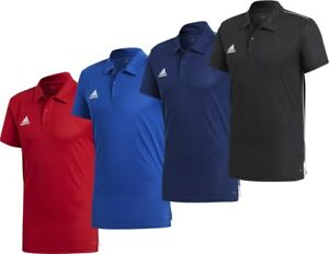 77a9d81c62793 Details about Adidas Men's Core 18 Climalite Polo Football Soccer T-Shirt  Black Navy Red Blue