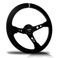 NEW 350MM Deep Dish Genuine Suede Leather Sport Racing Steering Wheel with Horn