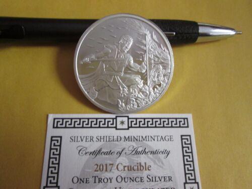 1 oz .999 fine  2017 Crucible Silver Shield  BU   W// COA